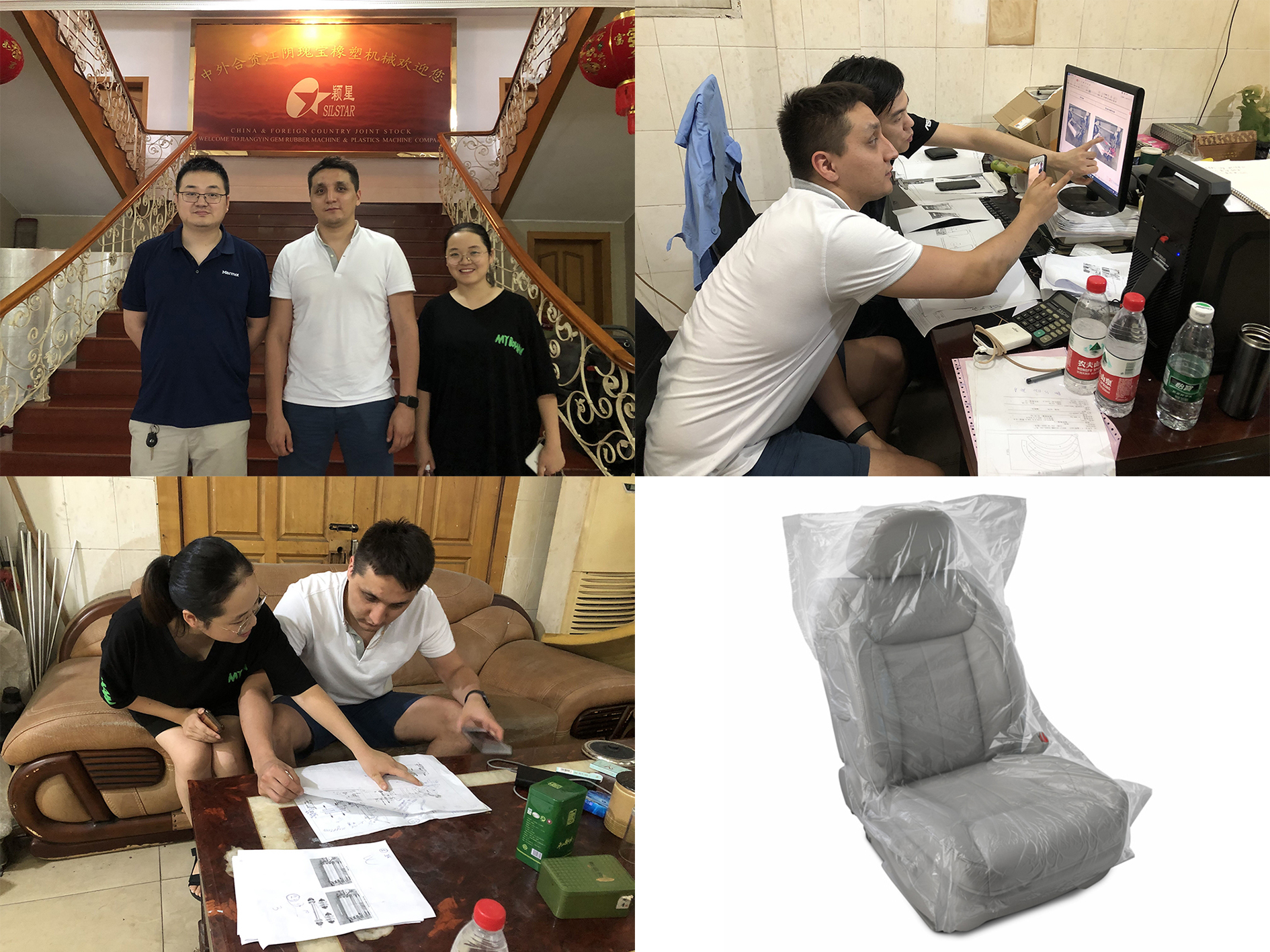 Russian customer came here to take part in the design of the rolling car seat cover machine!